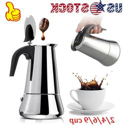 100-450ml Stainless Steel Stovetop Moka Espresso Coffee Make
