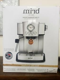 Brim 15 Bar Espresso Maker Wood Finish Handle Brand New