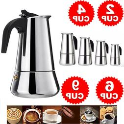 2/4/6/9-Cup Coffee Maker Moka Percolator Stove Top Espresso