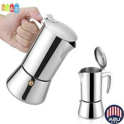 200ml Stainless Steel Moka Espresso Coffee Maker Pot for Gas