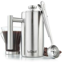 VonShef 3 Cup French Press Double Walled Stainless Steel Caf