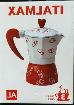 Italmax 3 Cup Stovetop Cuban Coffee Espresso Maker Red Heart
