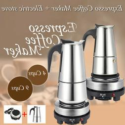 4 9 Cup Espresso Moka Coffee Maker Pot Percolator Stainless