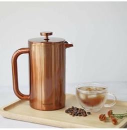 4 CUP 34oz FRENCH PRESS COPPER STAINLESS STEEL COFFEE ESPRES