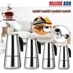 4 Size Stainless Steel Moka Espresso Stovetop Coffee Maker P