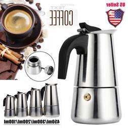 450ml Stainless Steel Stovetop Moka Espresso Coffee Maker Po