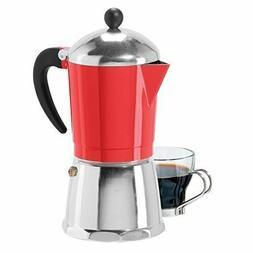 OGGI 6 Cup Cast Aluminum Stovetop Espresso Maker  6579.2 Red