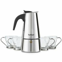 VonShef 6 Cup Stovetop Espresso Coffee Maker with 4 Glass De