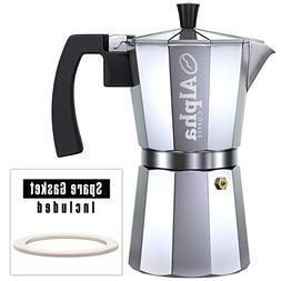 6 Cups Premium Aluminum Stovetop Espresso Coffee Maker Latte
