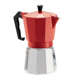 Oggi 6571.2 6 Cup Cast Aluminum Stovetop Espresso Maker, Red