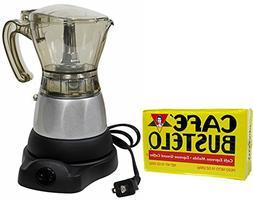 Electric Espresso Coffee Maker 1 to 3 Cups. 10 oz Bustelo Es