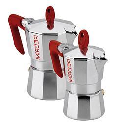 Pedrini: 1 Cup + 3 Cup Espresso Coffee Pots , Polished Alumi