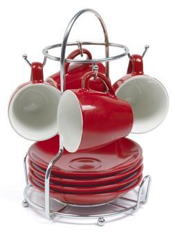 Imusa A120-22179 Red Stoneware Espresso Set with Chrome Rack