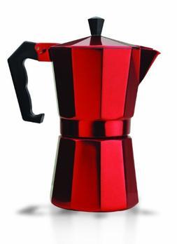 6 Cup Aluminum Stovetop Espresso Maker - Red