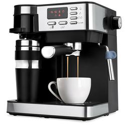 BCP 3-in-1 15-Bar Espresso, Coffee, and Cappuccino Maker w/