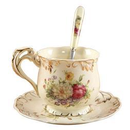 LQT Ltd Hot New Coffee Cup Set Handpainted Rose Ceramic Cup