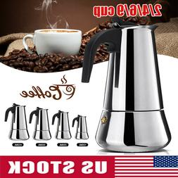 Coffee Espresso Pot Maker Moka Stove Top Cup 2/4/6/9 Latte S