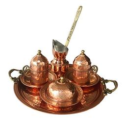 Copper Turkish Coffee Set, Two, Greek Armenian Arabic Espres