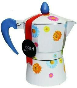 Espresso Coffee Maker HAPPI KLOC 3 Cup Aluminum Color Flower