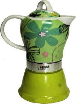 Espresso Cuban Coffee Maker 4 DEmitasse Cups Color LIME GREE
