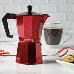 Primula Espresso Maker, 6 Cup, Aluminum, Red; Brand New, Ope