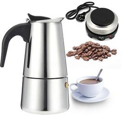 Espresso Moka Coffee Tea Maker Pot Office Electric Stove Sta