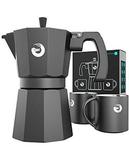 Coffee Gator Espresso Moka Pot - Stovetop Brewer Plus 2 Ther