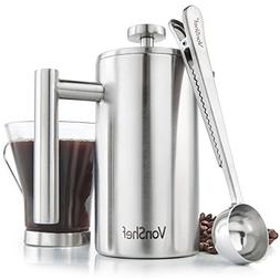 VonShef 12oz 3 Cup French Press Brushed Stainless Steel Doub
