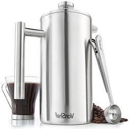 VonShef 12 Cup French Press Brushed Stainless Steel Double W