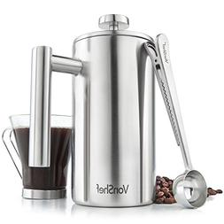 VonShef 6 Cup French Press Brushed Stainless Steel Double Wa