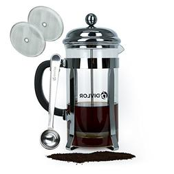French Press Coffee Maker - 34 Ounce, 8 Cups, Clip Spoon and
