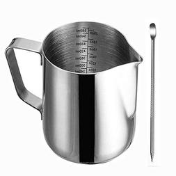 Frothing Pitcher, Liyahog 20oz Stainless Steel Creamer Milk