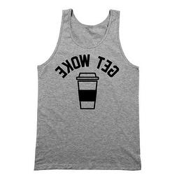 Get Woke Funny Coffee Cafe Espresso Maker Gray Basic Tank To