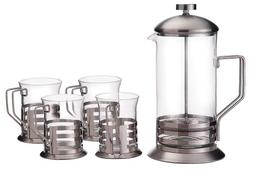 Primula Glass 8-Cup Coffee Press with 4 Matching Cups
