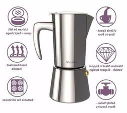 bonVIVO Intenca Stovetop 5-Cup Coffee/Espresso Maker Stainle