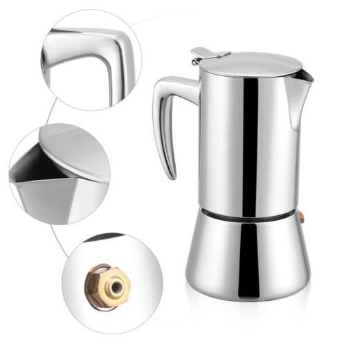 4 Cup Stainless Stovetop Espresso Maker Percolator Pot