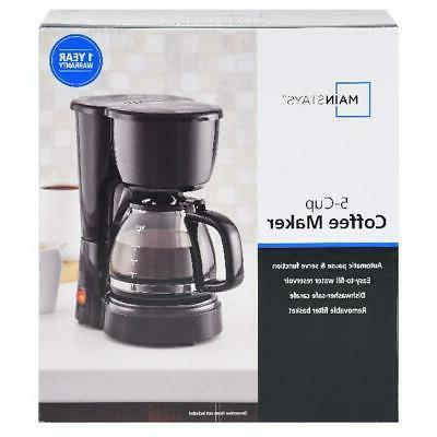 5 Cup Coffee Maker Brew Kitchen Electric Filter Home Black