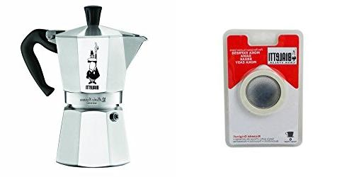 Bialetti Moka Express 6-cup Espresso Maker and Replacement F