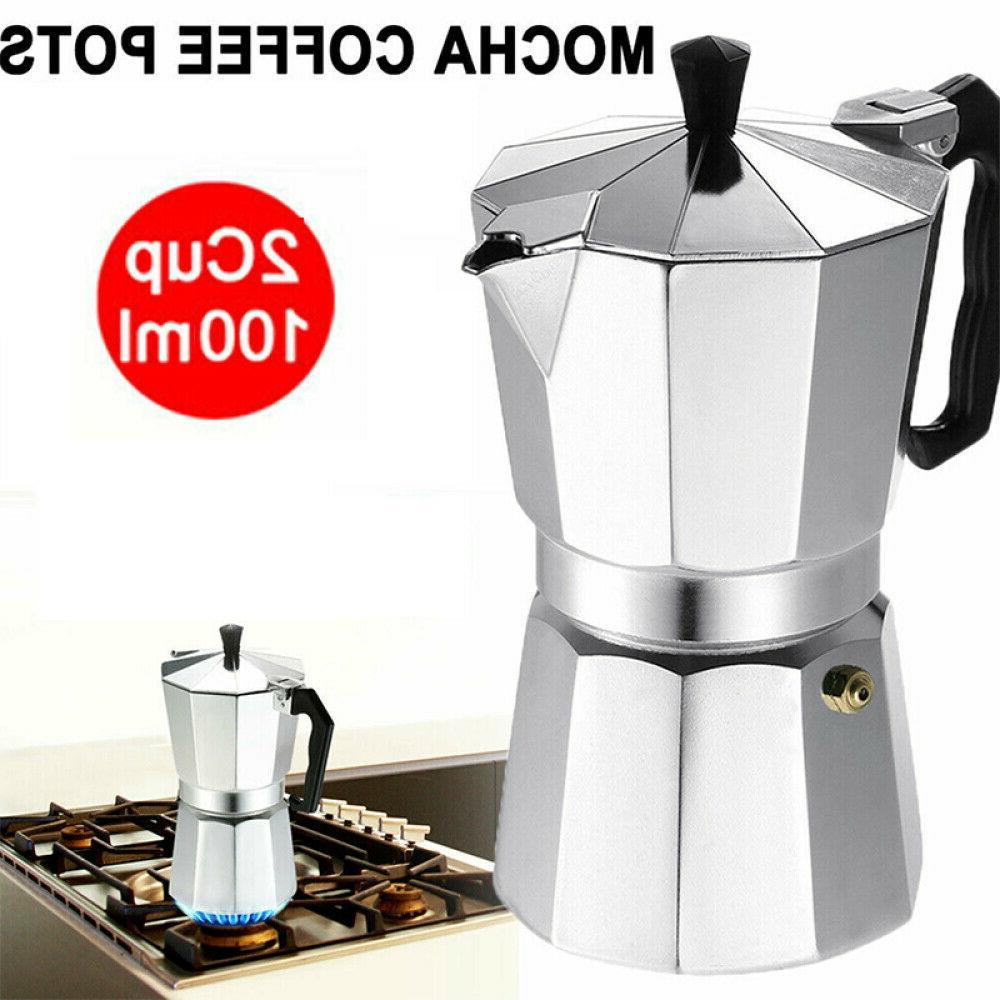2 Cups Coffee Maker Stove Top Italian Espresso Stovetop Moka