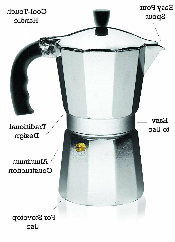 ALUMINUM Coffee Pot Maker 3/6 NEW
