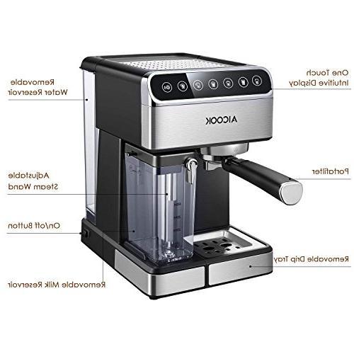 AICOOK Espresso Machine, Espresso Maker One 15 Automatic Milk Frother, Cappuccino maker, Latte maker