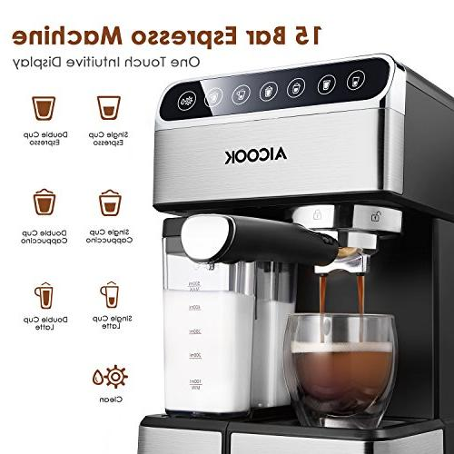 AICOOK Espresso Machine, Barista Espresso Maker 15 bar and Automatic Milk Frother, maker,