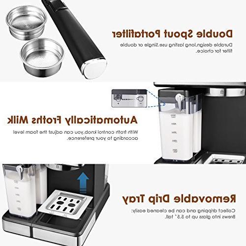 AICOOK Espresso Machine, Barista Espresso Maker One Touch Digital Screen, Automatic Cappuccino maker, Latte