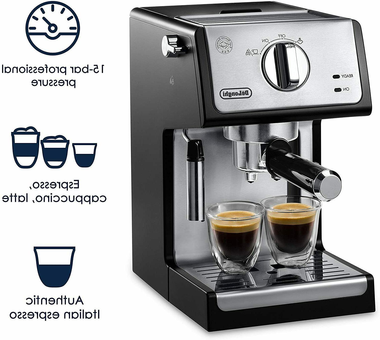 De'longhi 15-Bar Cappuccino Espresso Machine Black