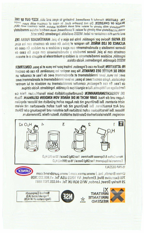 URNEX DEZCAL COFFEE ESPRESSO MACHINE DESCALER - 10 SINGLE-USE 1-oz. PACKETS