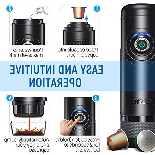 Compatible with Nespresso Capsules Automatically Pump Good for Traveler Boil Water CISNO NCC-N01 Automated Portable Espresso Machine BPA Free Black 15 Bars Pressure