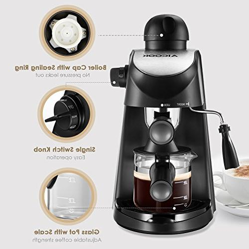 Espresso Machine, Aicook Espresso Maker, and Cappuccino Machine Milk with Steamer,