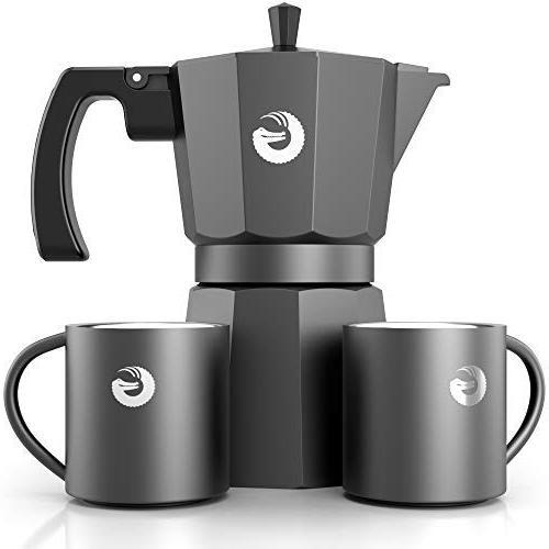 Coffee Gator Moka Pot Plus Cups - Ounce