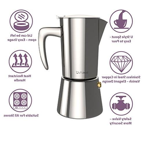 bonVIVO Stovetop Espresso Maker, Italian Coffee Maker, Bodied Coffee, Espresso For Cups, Pot Finish