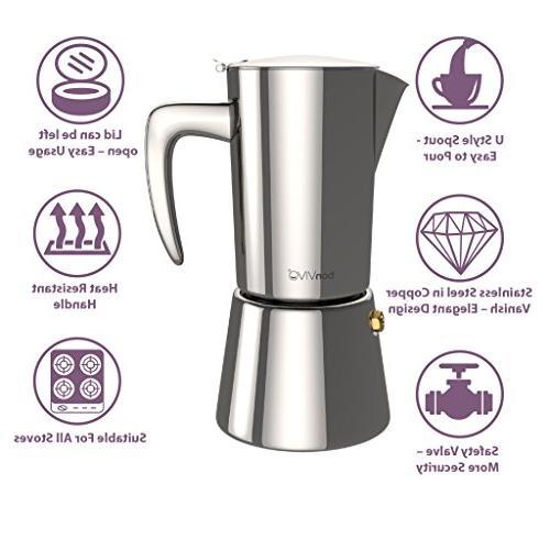 bonVIVO Stovetop Espresso Maker, Italian Coffee Maker, Bodied Coffee, Espresso For Cups, Pot Finish